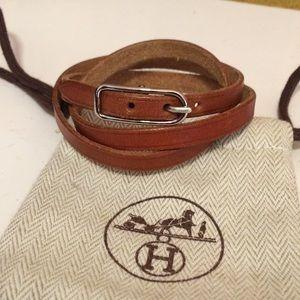 Hermes Hapi 3 Tour Tan Leather Wrap Bracelet